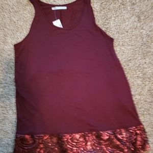 Garnet Red Tank Top With Sequins On the Bottom